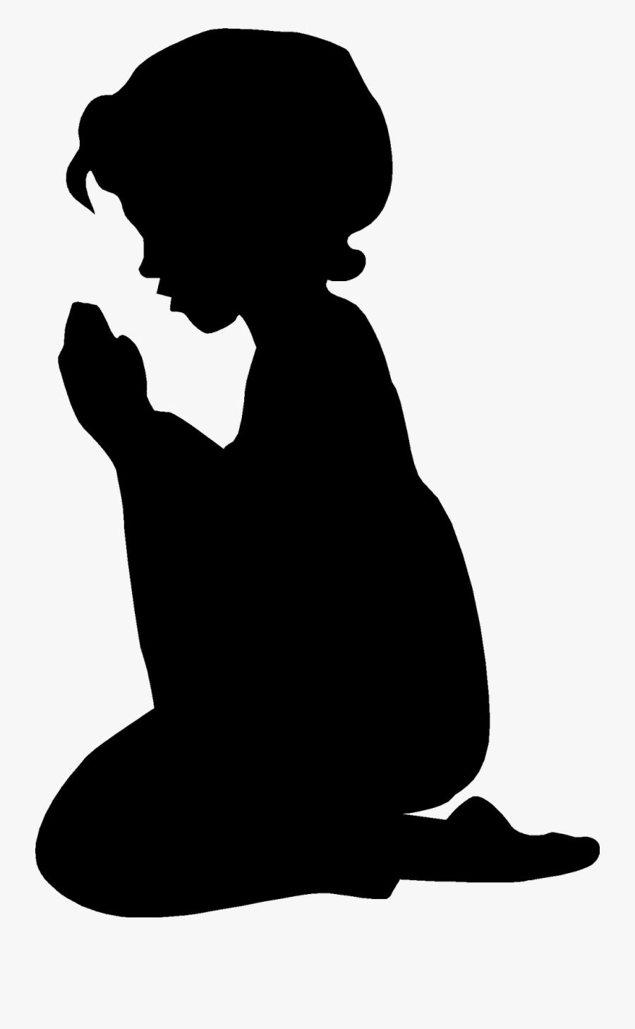 Kneeling Silhouette Clip Art - Child Praying , Free Transparent ...