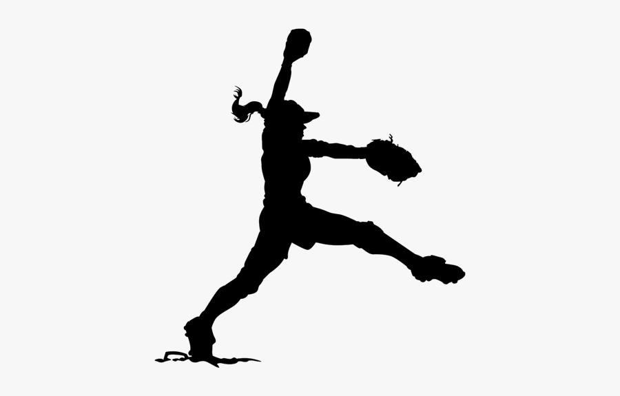 Transparent Softball Girl Silhouette - Softball, Transparent Clipart