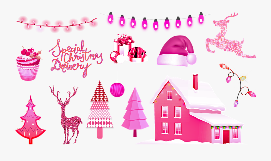Pink Christmas, Christmas, Pink Lights, Decoration - Christmas Day, Transparent Clipart