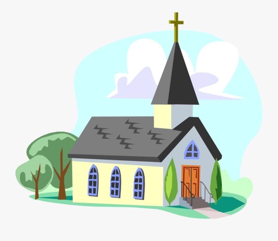Vector Illustration Of Christian Church Cathedral House - Imagen De Una Iglesia En Caricatura, Transparent Clipart