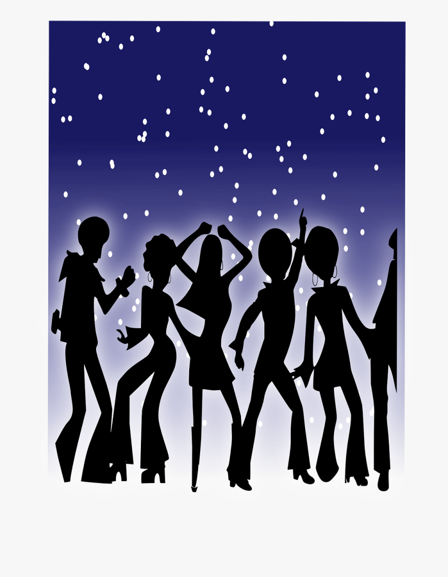 Crowd, Dancing, Disco, Party, Dance, Stars, Silhouette - 60 70 80 90 Music, Transparent Clipart