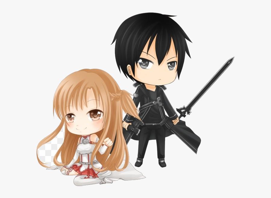 Sword Art Online Clipart Transparent Png - Sword Art Online Kirito Asuna Chibi, Transparent Clipart