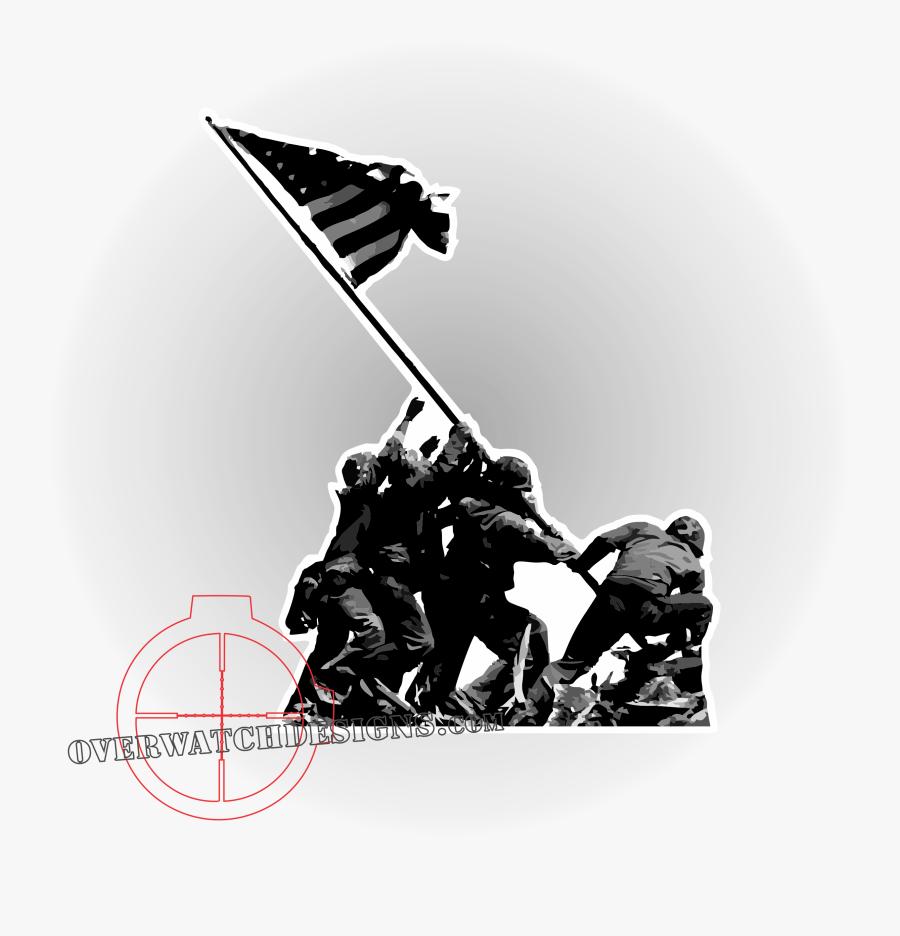 Raising The Flag On Iwo Jima Battle Of Iwo Jima Marine - Iwo Jima Flag Raising, Transparent Clipart