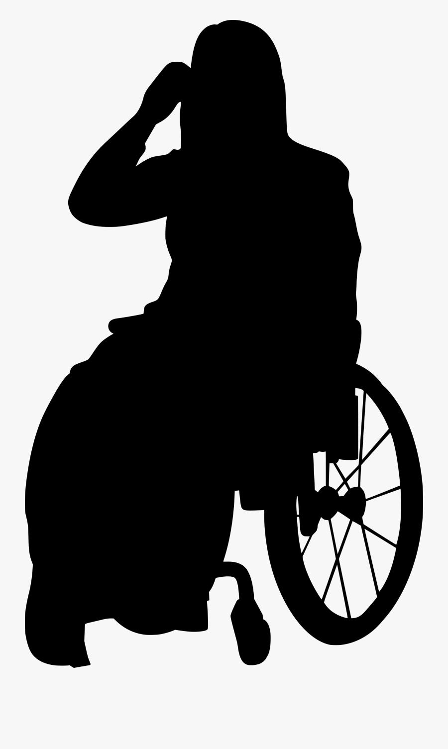 Handicap Disabled Transparent - Silhouette Person In Wheelchair, Transparent Clipart