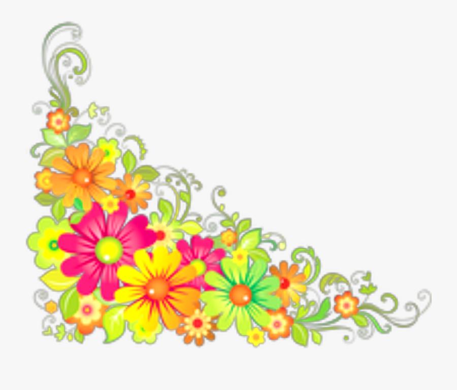 Ftestickers Flowers Corner Border Colorful - Flower Corner Design Png, Transparent Clipart