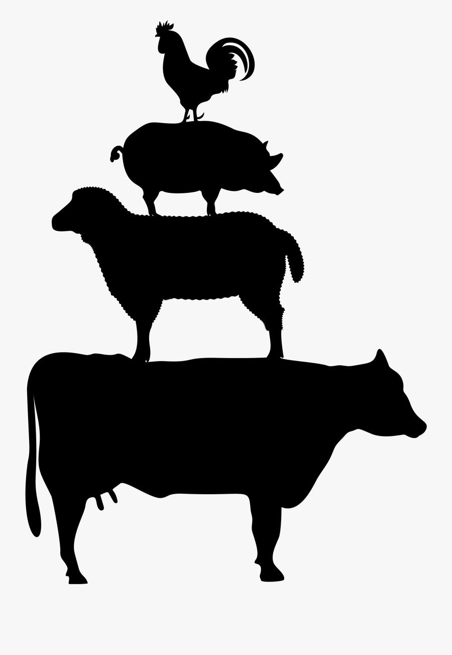 Farm Animals Silhouette Png, Transparent Clipart