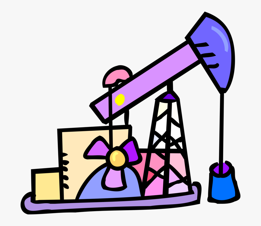 Vector Illustration Of Petroleum Industry Oil Well - Fossil Fuels Cartoon Png, Transparent Clipart