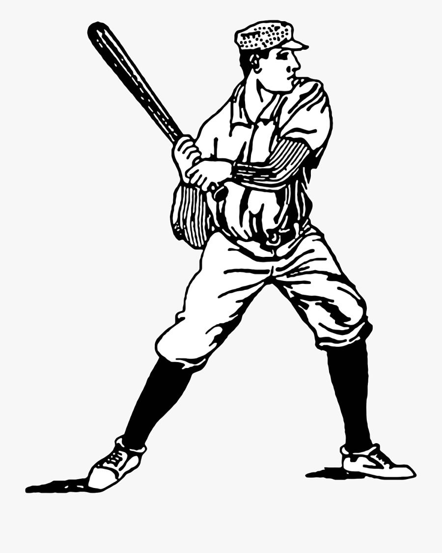 Vintage Baseball Player Clip Art, Transparent Clipart