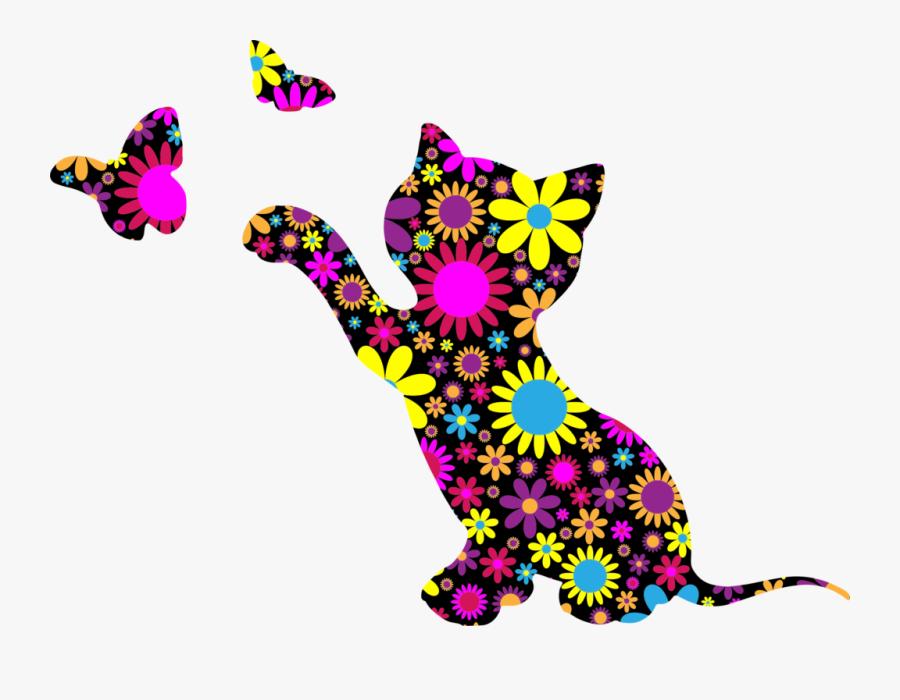 Cat Clipart Floral 1 Clip Art Rainbow - Silhouette Kitty Cat Clipart, Transparent Clipart