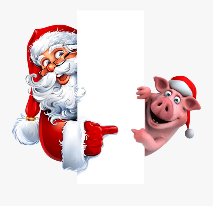 #santa #pig #list #christmas - Christmas Picsart Sticker, Transparent Clipart