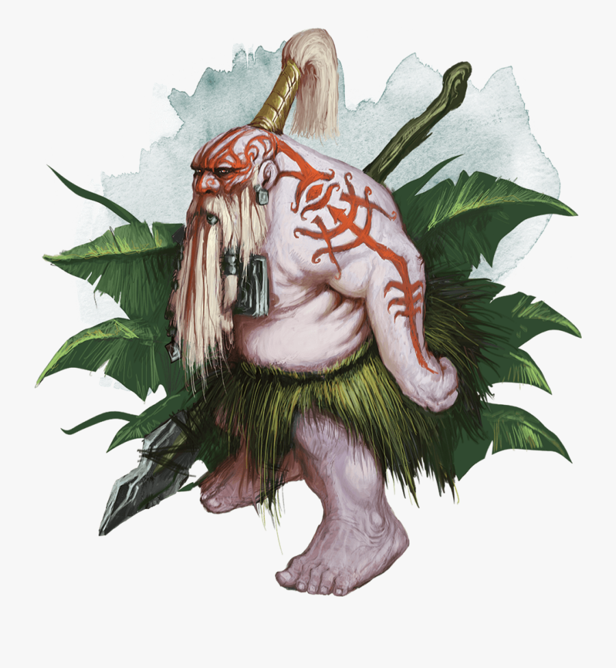 Clip Art Monsters For Dungeons Dragons - Albino Dwarf Spirit Warrior, Transparent Clipart