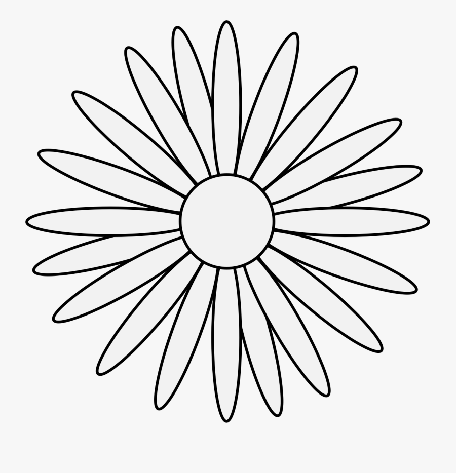 Transparent Daisy Clip Art - Black And White Sunflower ...