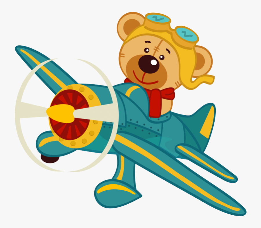 Transparent Airplane Pulling Banner Clipart - Teddy Bear And Plane Clipart, Transparent Clipart