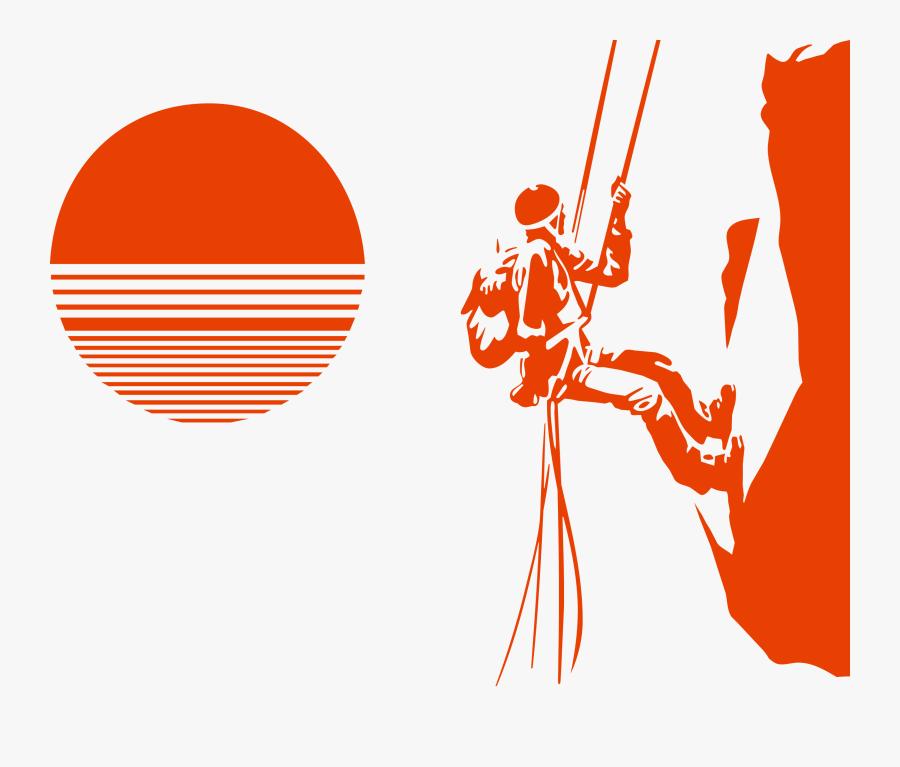 Climbing Silhouette Mountaineering - Vector Mountain Climbing, Transparent Clipart