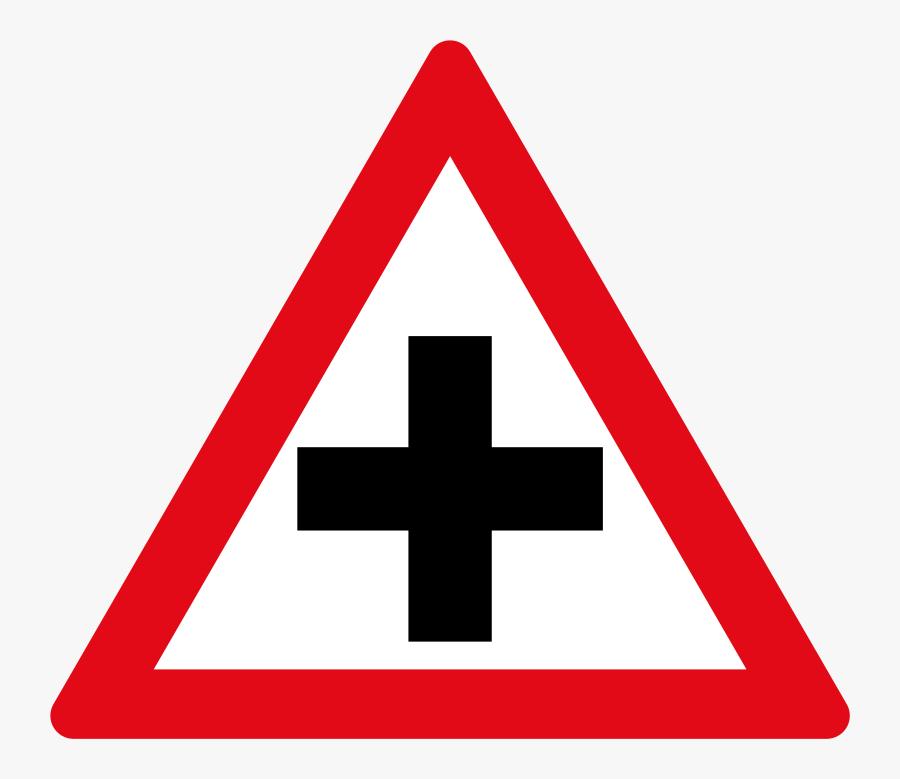 Clip Art W Cross Road Signs - Traffic Sign Black Dot, Transparent Clipart