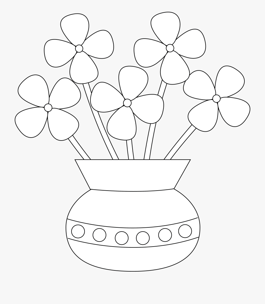 Banner Freeuse Library Flower Vase Clipart Black And - Easy Flower Vase Drawing, Transparent Clipart