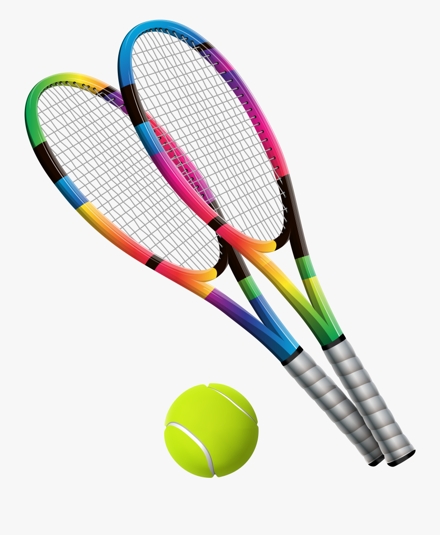 Transparent Sport Equipment Clipart - Tennis Racquet Transparent Background Cartoon Tennis, Transparent Clipart