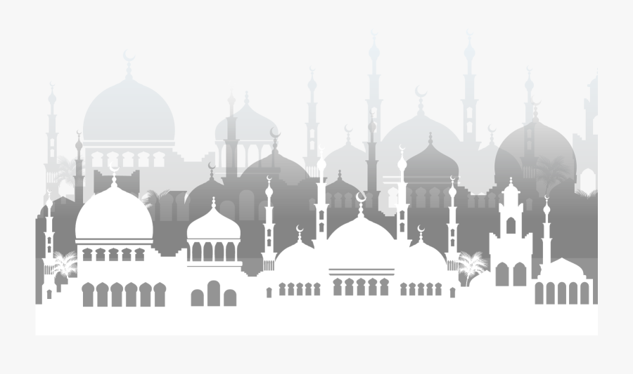 Jpg Black And White Al Fitr Adha Ramadan Mosque Peoplepng - Background Masjid Png, Transparent Clipart