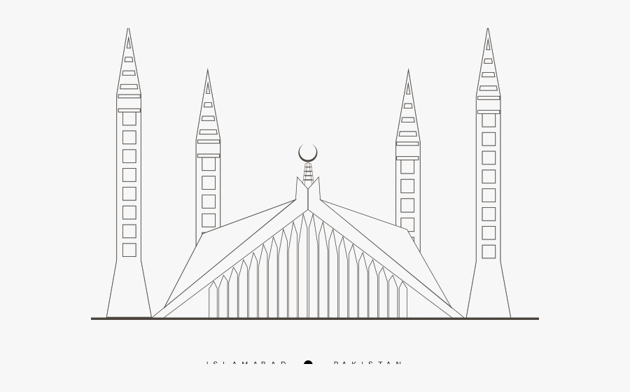 Drawn Mosque Masjid - Faisal Mosque Islamabad Png, Transparent Clipart