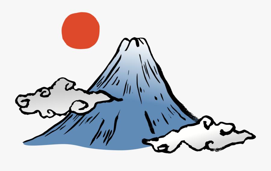 Blackandwhite,tree,mount Fuji - Japan Mount Fuji Cartoon, Transparent Clipart