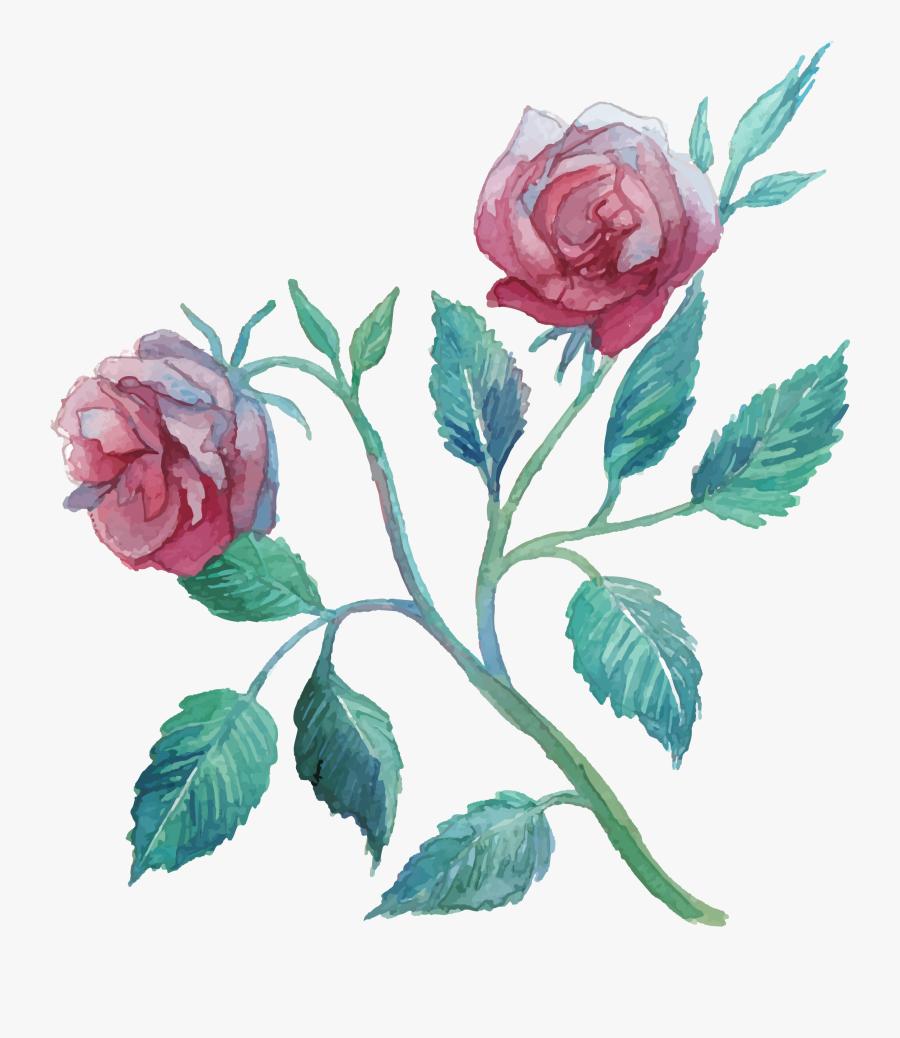 Flower Watercolor Painting Clip Art Transprent Png - Flower Watercolor Transparent Pink, Transparent Clipart