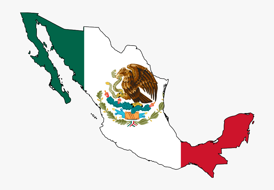 File Map With Flag - Mexico Map With Flag, Transparent Clipart