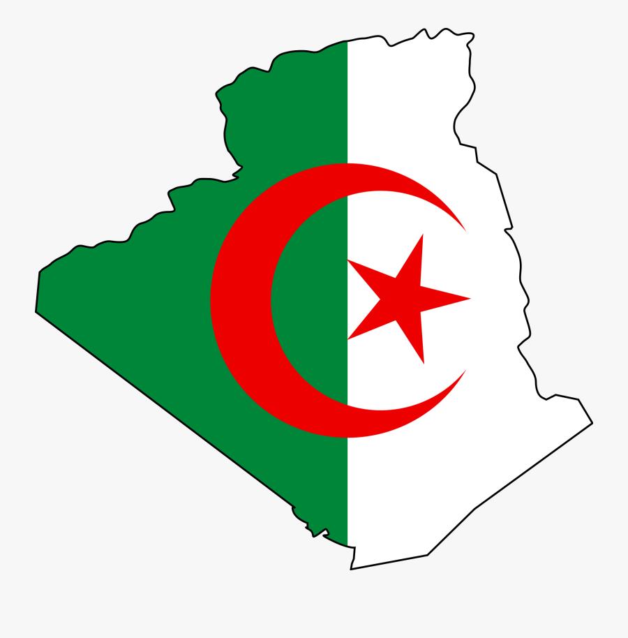 Algeria Flag And Map, Transparent Clipart