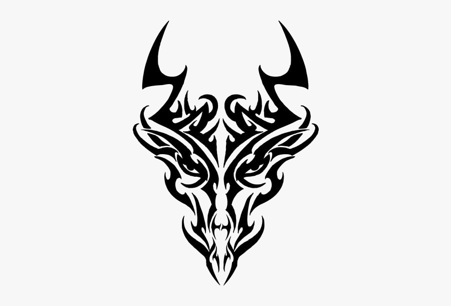 Simple Dragon Outline Png Clipart Image For Download - Tribal Dragon Head Tattoo, Transparent Clipart