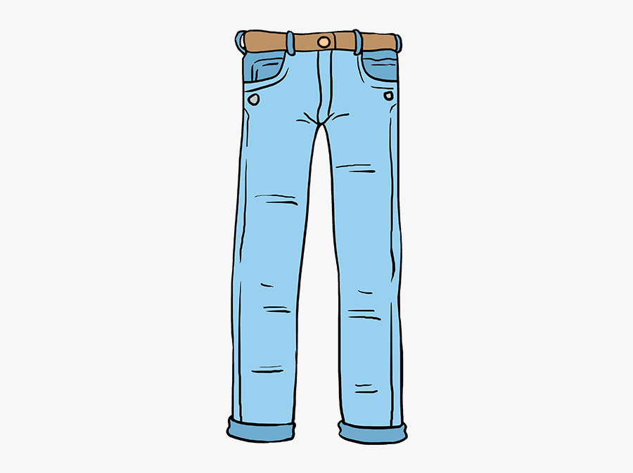 Clip Art Drawings Of Jeans - Pants Drawing Step By Step, Transparent Clipart