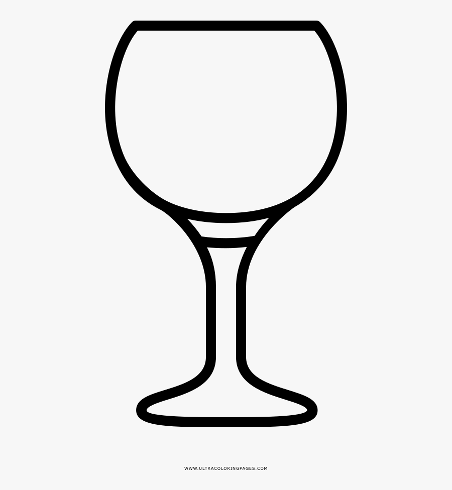 Red Wine Glass Coloring Page - Copa De Vino Para Dibujar, Transparent Clipart
