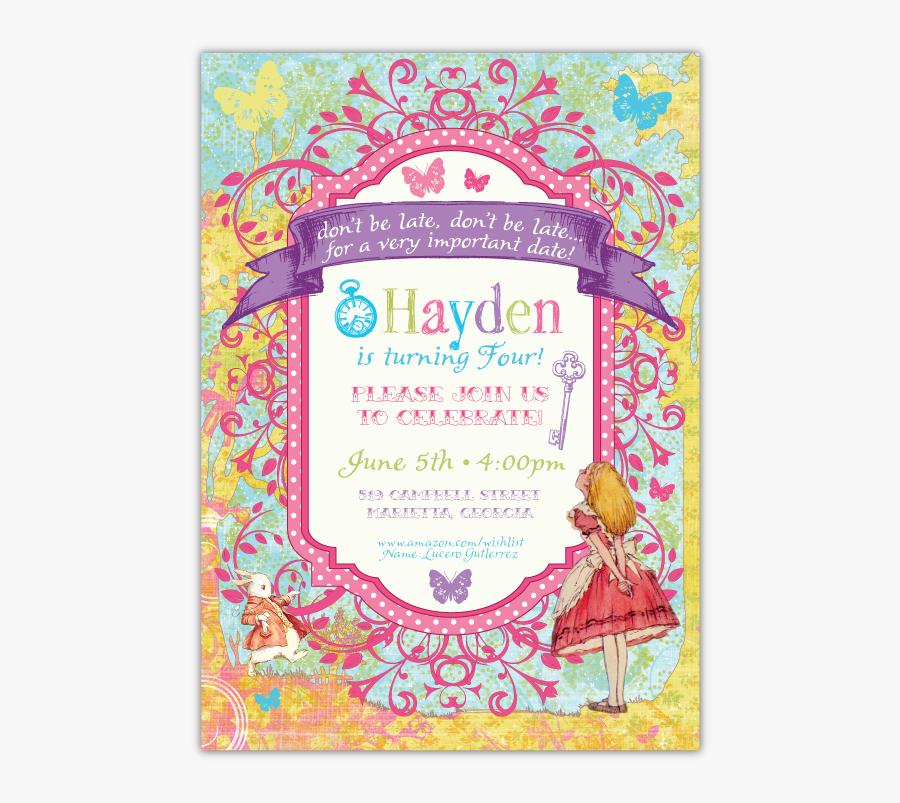 Clip Art Whimsical Wonderland Invitations A - Carte D Invitation Alice Aux Pays Des Merveilles, Transparent Clipart