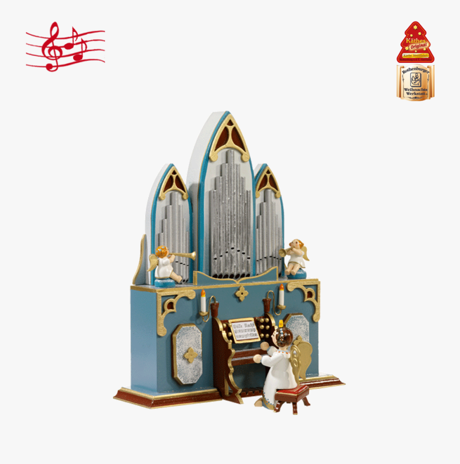 "Music Box ""organ With Angel - Vintage Large White Music Box With Angel Playing The, Transparent Clipart"