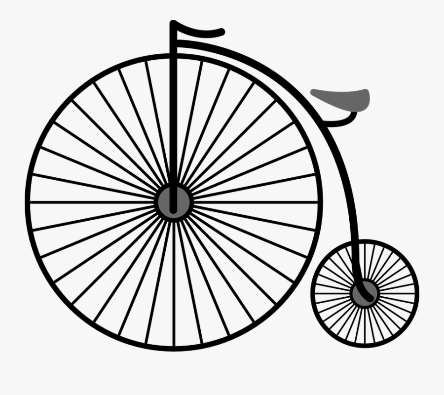 Penny Farthing, High Wheel Bicycle, High Wheeler - Penny Farthing Bicycle Drawing, Transparent Clipart