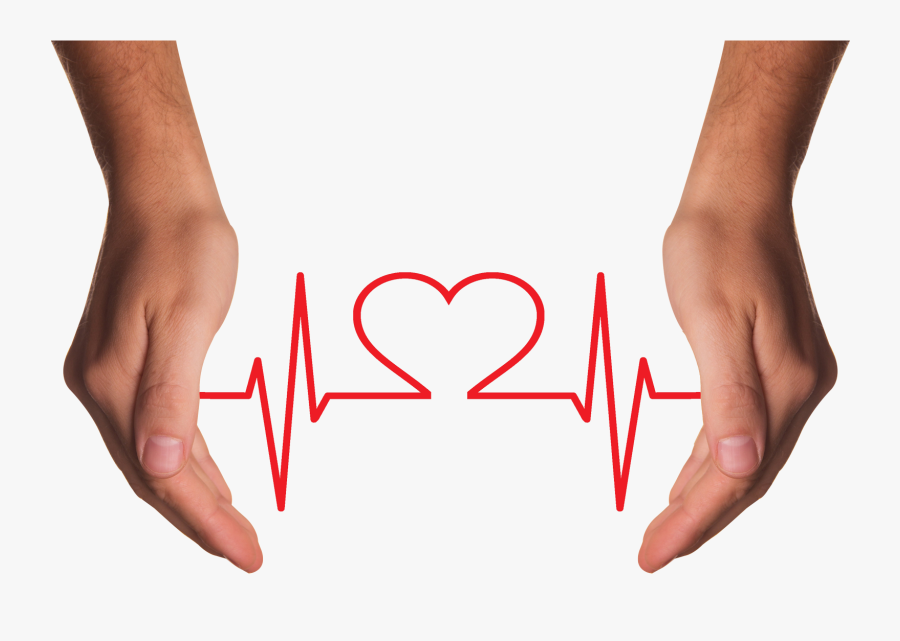 Hands Holding Red Heart With Ecg Line Png Image, Transparent Clipart