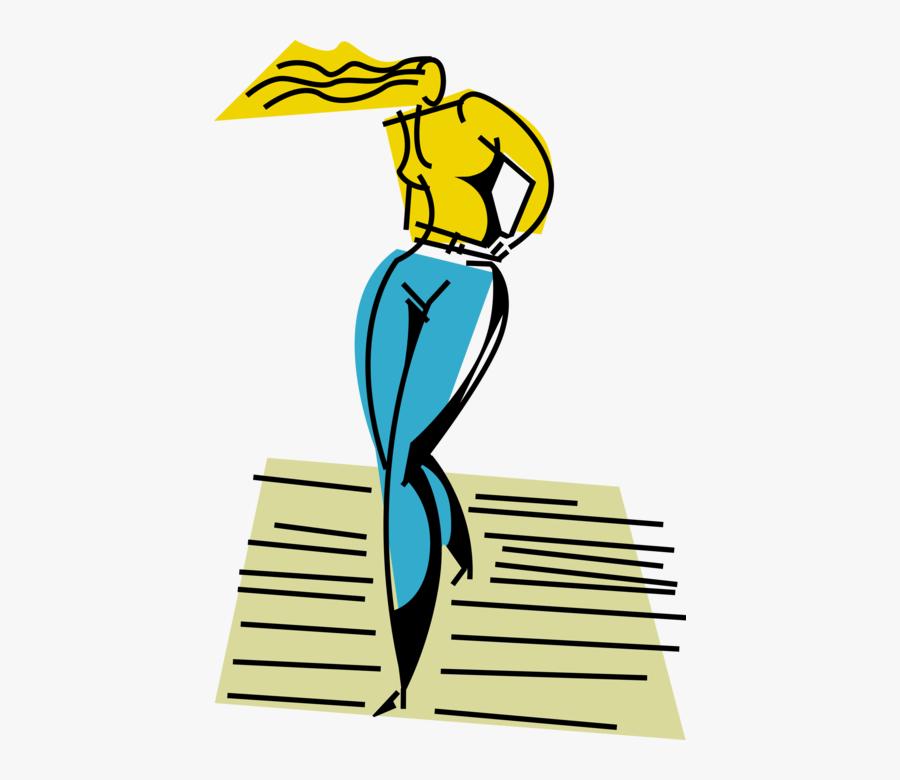 Vector Illustration Of Female Model On Fashion Show - Female Model Vector, Transparent Clipart