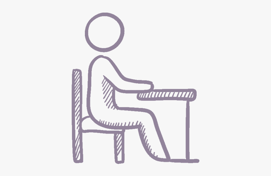 Person At Desk Icon Purple - Student Sitting In Front Of Computer, Transparent Clipart