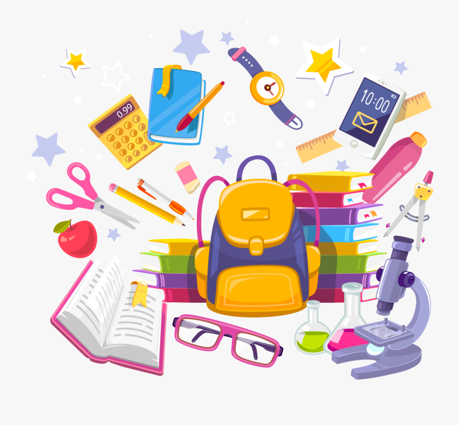And Bags School Notebook Vector Books Illustration - Stationery Back To School, Transparent Clipart