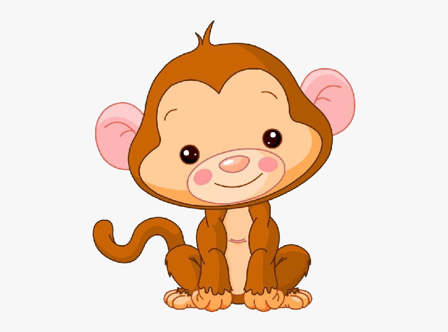Cute Baby Monkey Clipart - Cute Cartoon Zoo Animal, Transparent Clipart