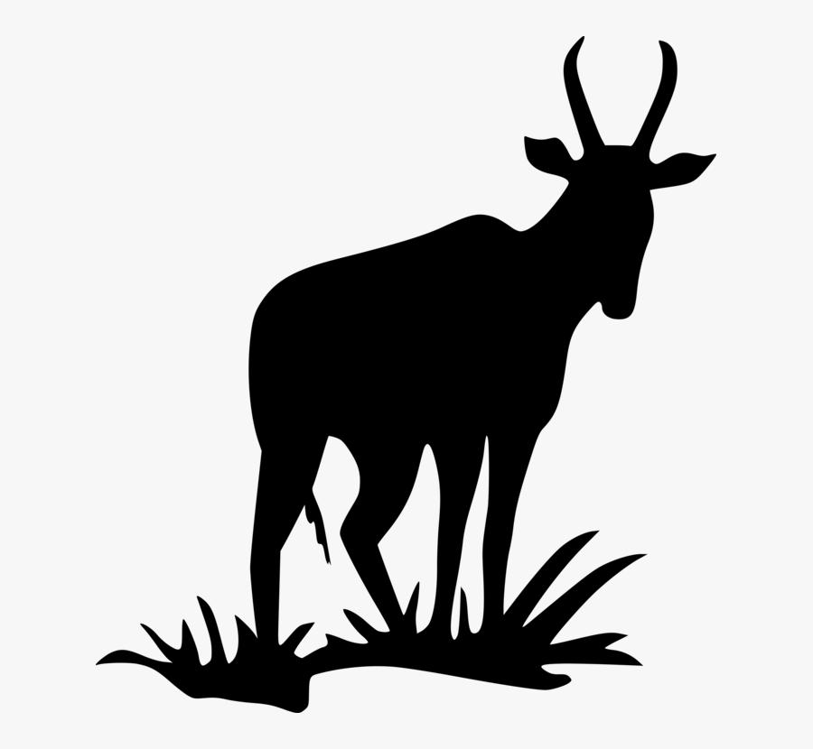 Animal, Antelope, Mammal, Silhouette, Zoo - Black Silhouette Antelope, Transparent Clipart