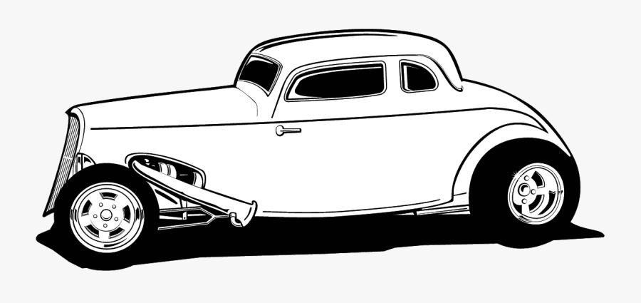 Hot Rod Street Car Clipart Transparent Png - Classic Car Clip Art Black And White, Transparent Clipart