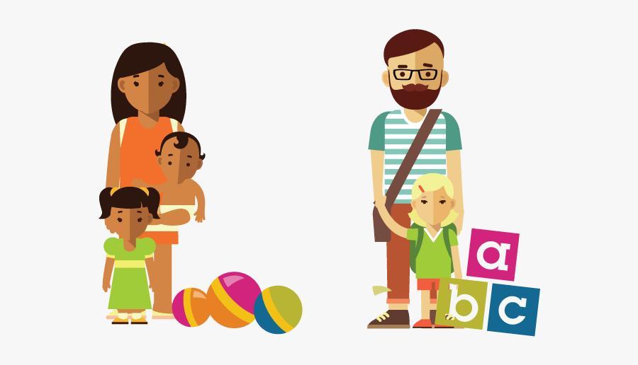 Cartoon Single Parent Families, Transparent Clipart