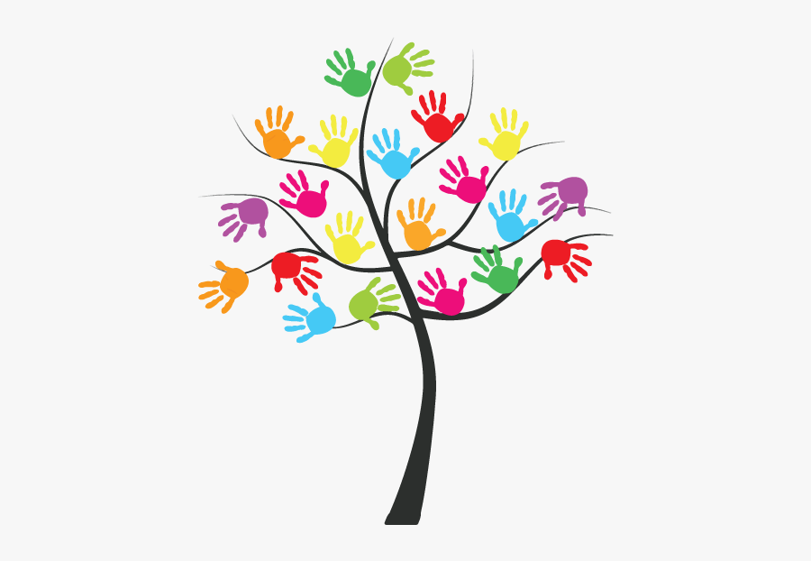 Daycare Clipart Departure - Hand Prints Tree, Transparent Clipart