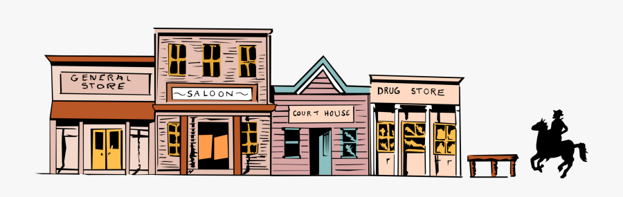 West Town Image Illustration Of Western - Cartoon Old West Town, Transparent Clipart