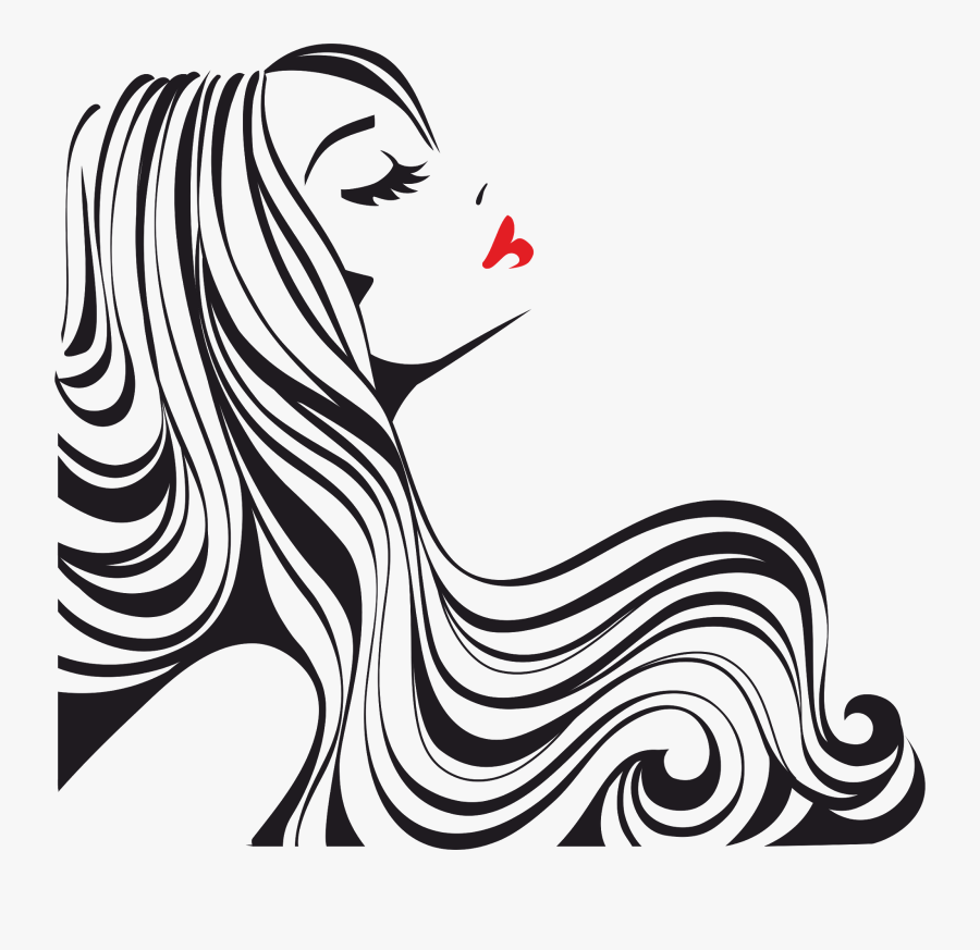 Clip Art Silhouette Hair Salon - Silueta De Rostro De Mujer, Transparent Clipart