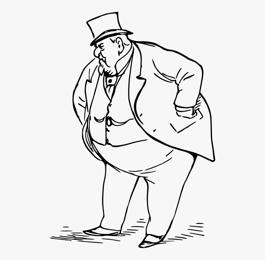 Man Medium Image Png - Fat Man Clipart Black And White, Transparent Clipart