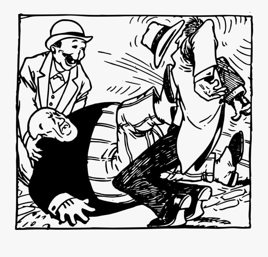 Fat Man Kicks Man In A Hat - Fat Man Kicks Man In Hat, Transparent Clipart
