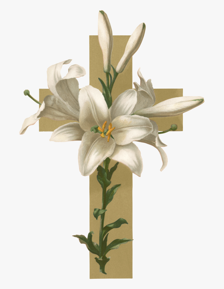Easter Lily Christian Cross Flower Funeral Clip Art - Easter Lilies With Cross, Transparent Clipart