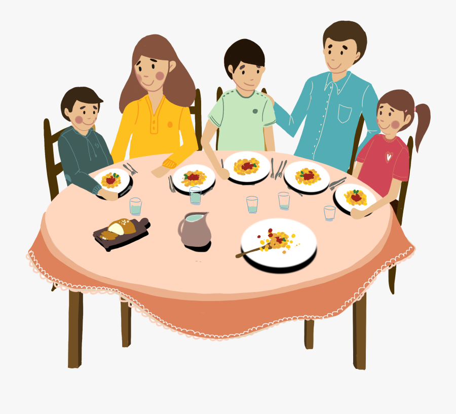 Transparent Family Dinner Table Clipart - Eating With ...