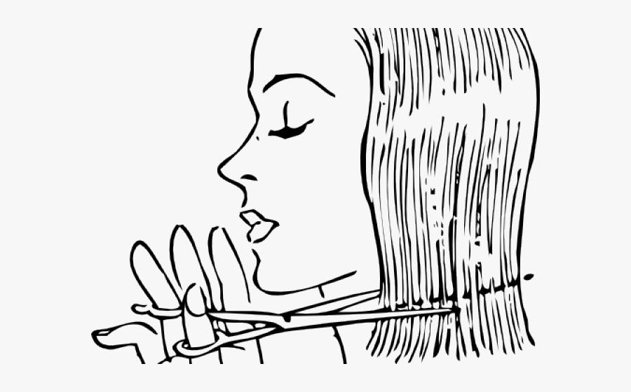 Haircut Clipart African American Hair Salon - Cut Hair Clipart Black And White, Transparent Clipart