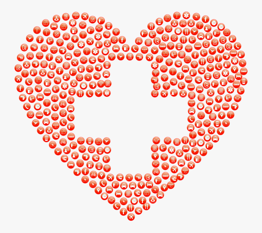 Heart With First Aid Sign, Transparent Clipart